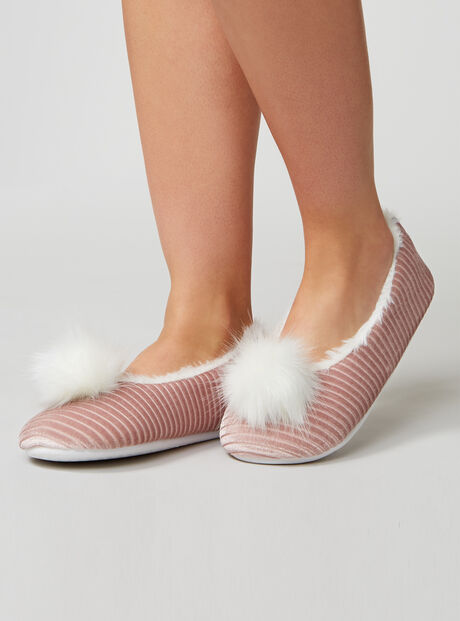 Pom pom velvet stripe slippers