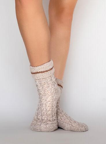 Velvet fleece cable socks