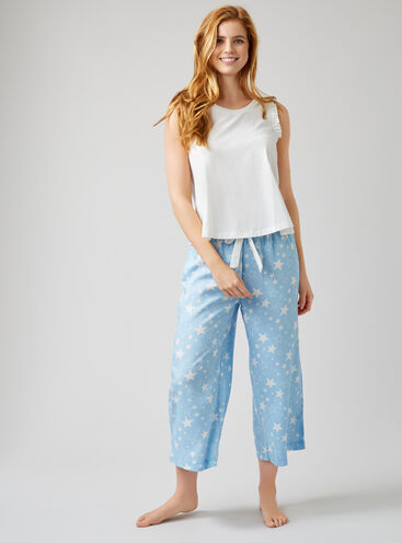 Star print cropped pants set