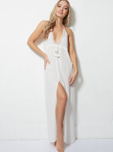 Crochet trim beach maxi dress