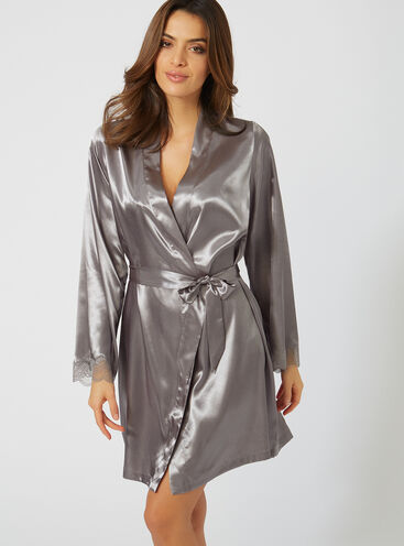 Lace trim satin robe