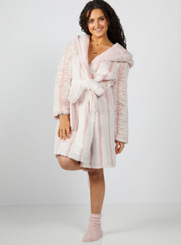 Hooded stripe ombre midi dressing gown