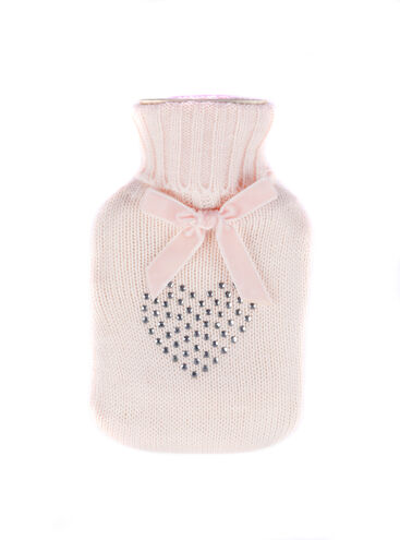 Diamante heart hot water bottle