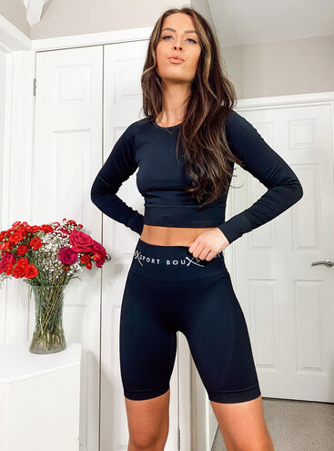 Boux Sport textured panel long sleeve crop top
