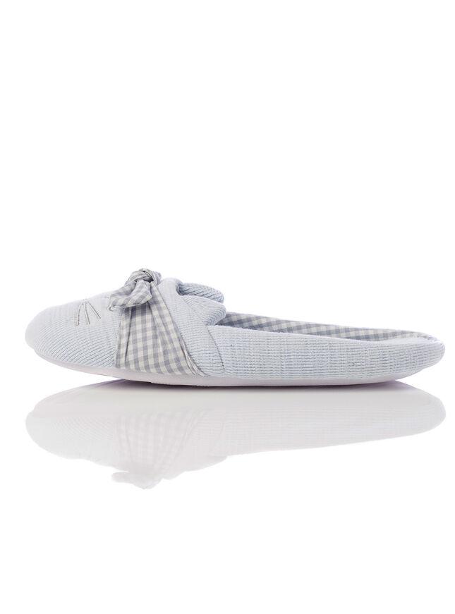 Gingham cat slippers