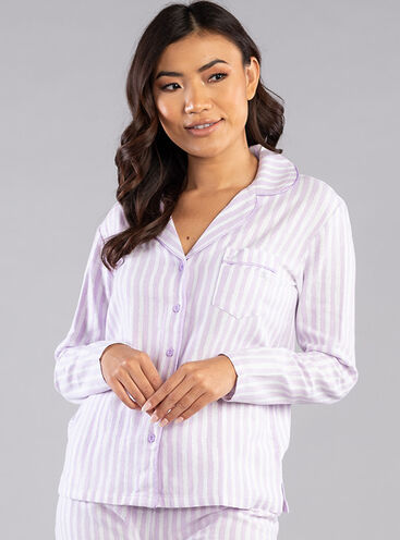 Lilac lurex stripe PJs in a bag