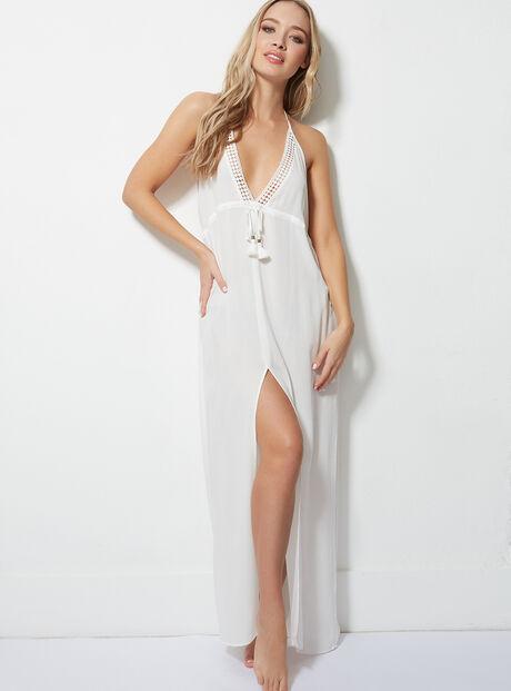 Crochet trim beach maxi dress