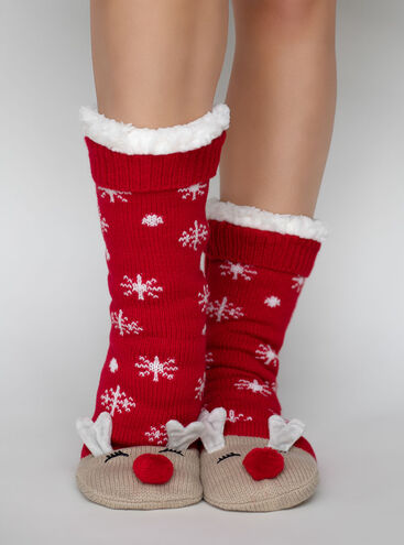 Reindeer slippers socks