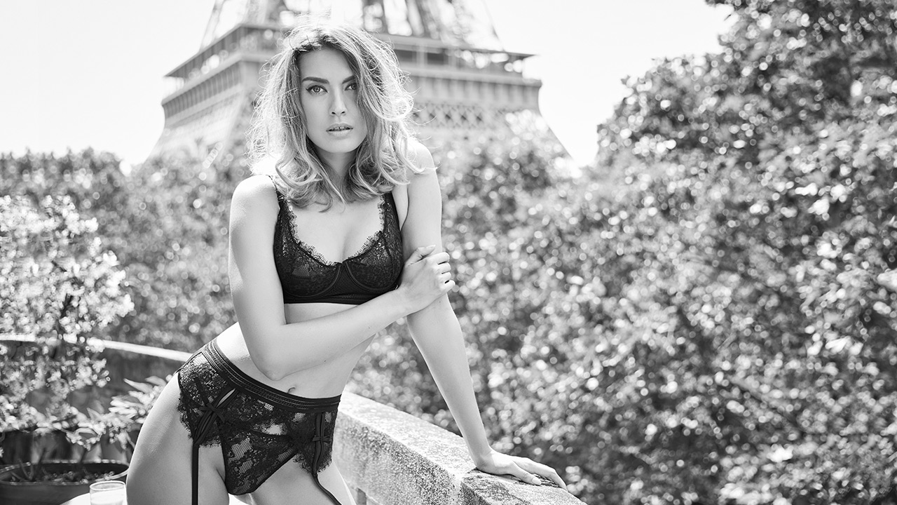 Black and white image of a model wearing Boutique by Boux Avenue in Paris