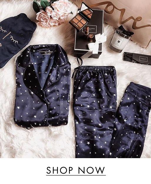 Star print long satin pyjama set