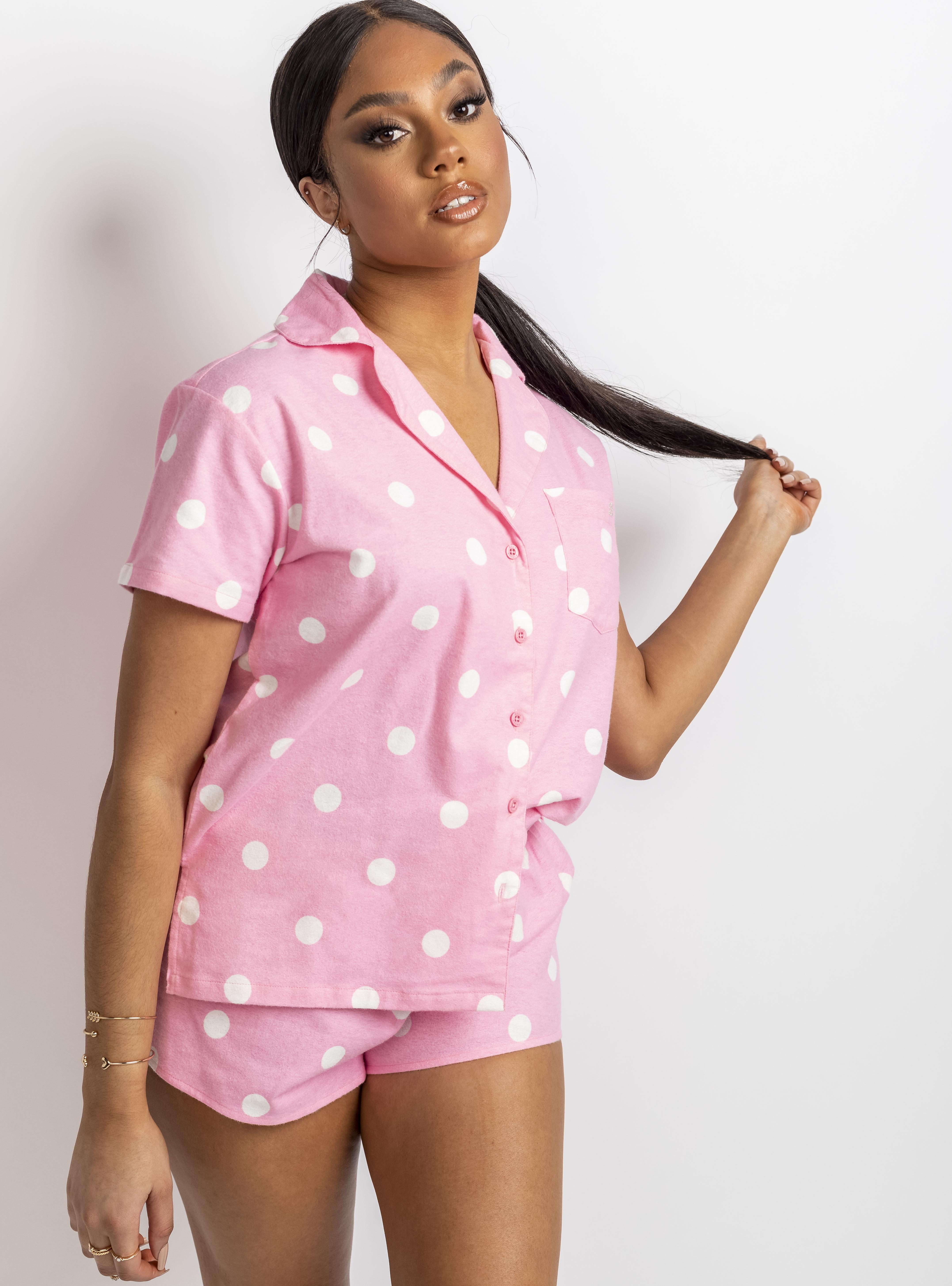 women wearing pink short pyjamas
