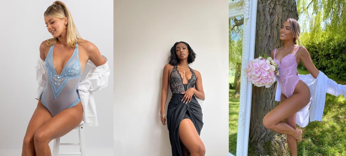 Three women in lingerie bodysuits