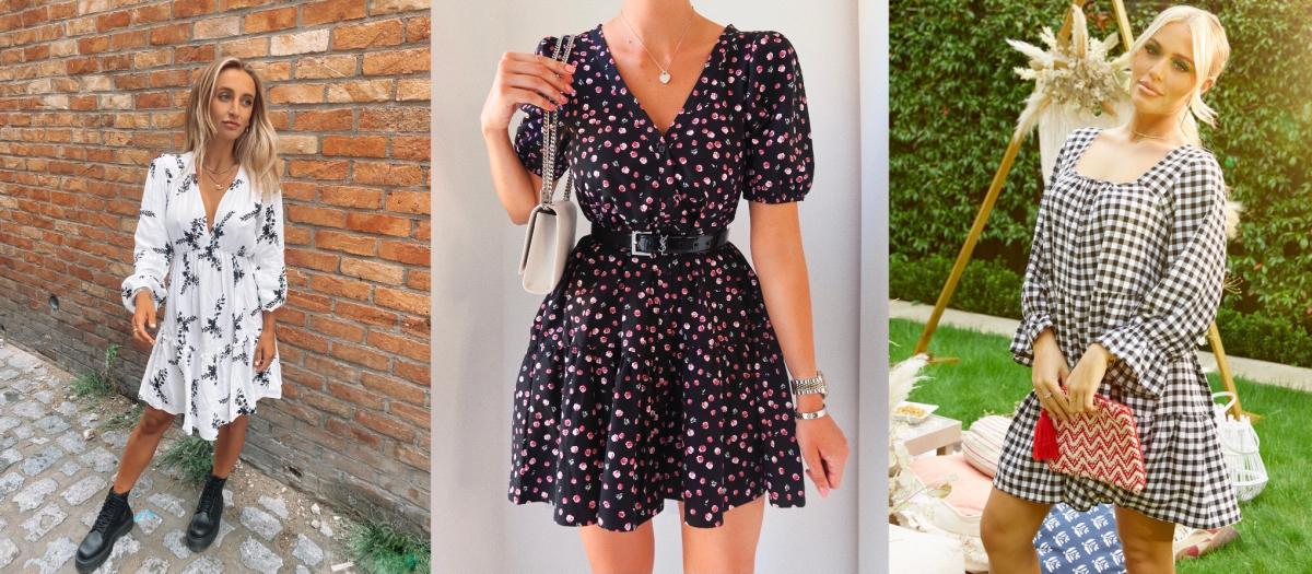 Three women wearing summer smock dresses