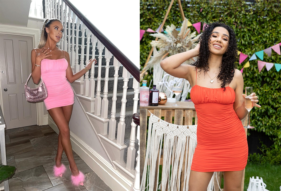 Two women wearing bodycon ruched mini dresses