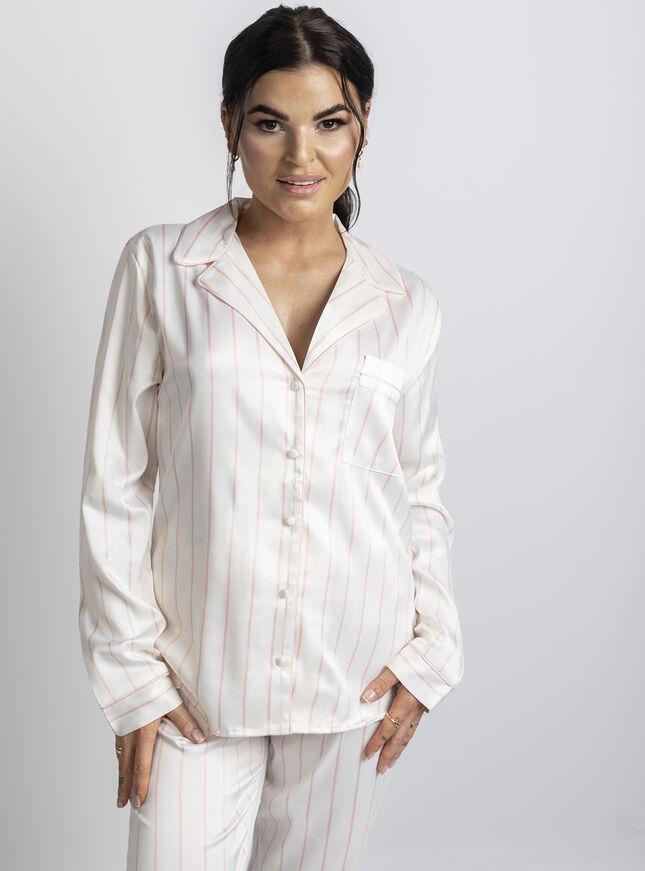 woman wearing satin pjs