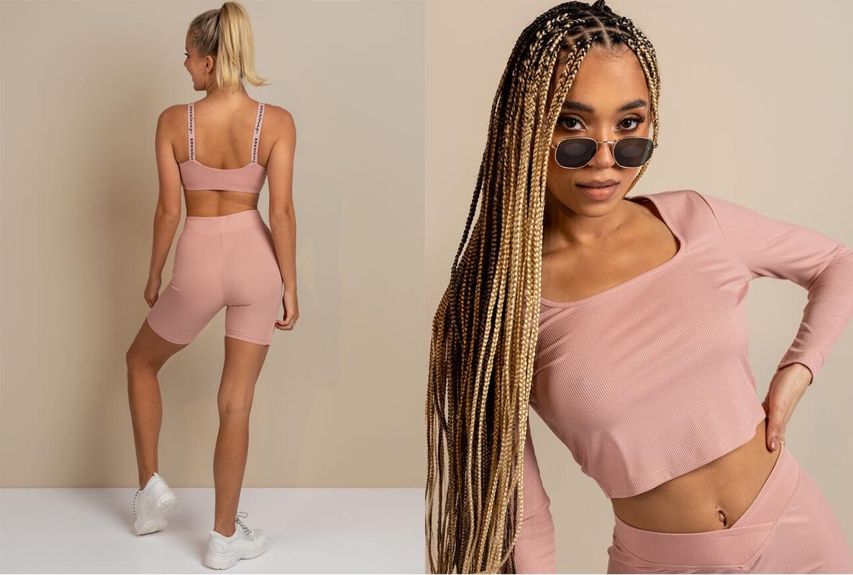 Women pink cycling shorts and matching top